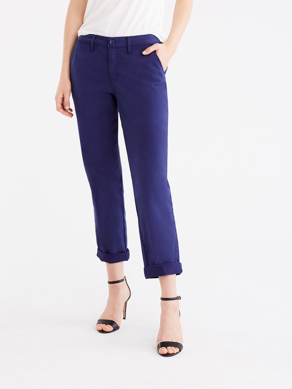 The Jones New York Classic Cropped Chino in color Navy - Image Position 3