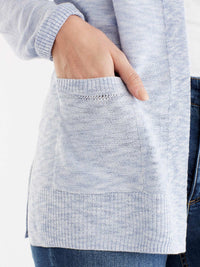 Open Front Sweater Cardigan, Plus Size Color Moonstone