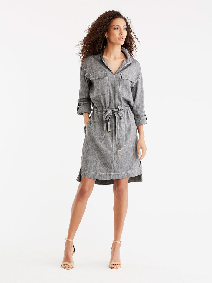 Pop-Collar Shirtdress