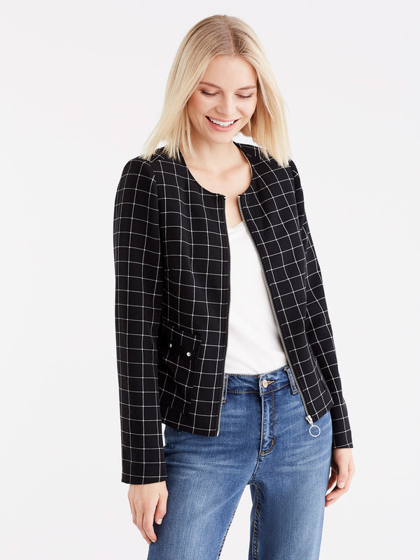 Grid Pattern Zip Jacket