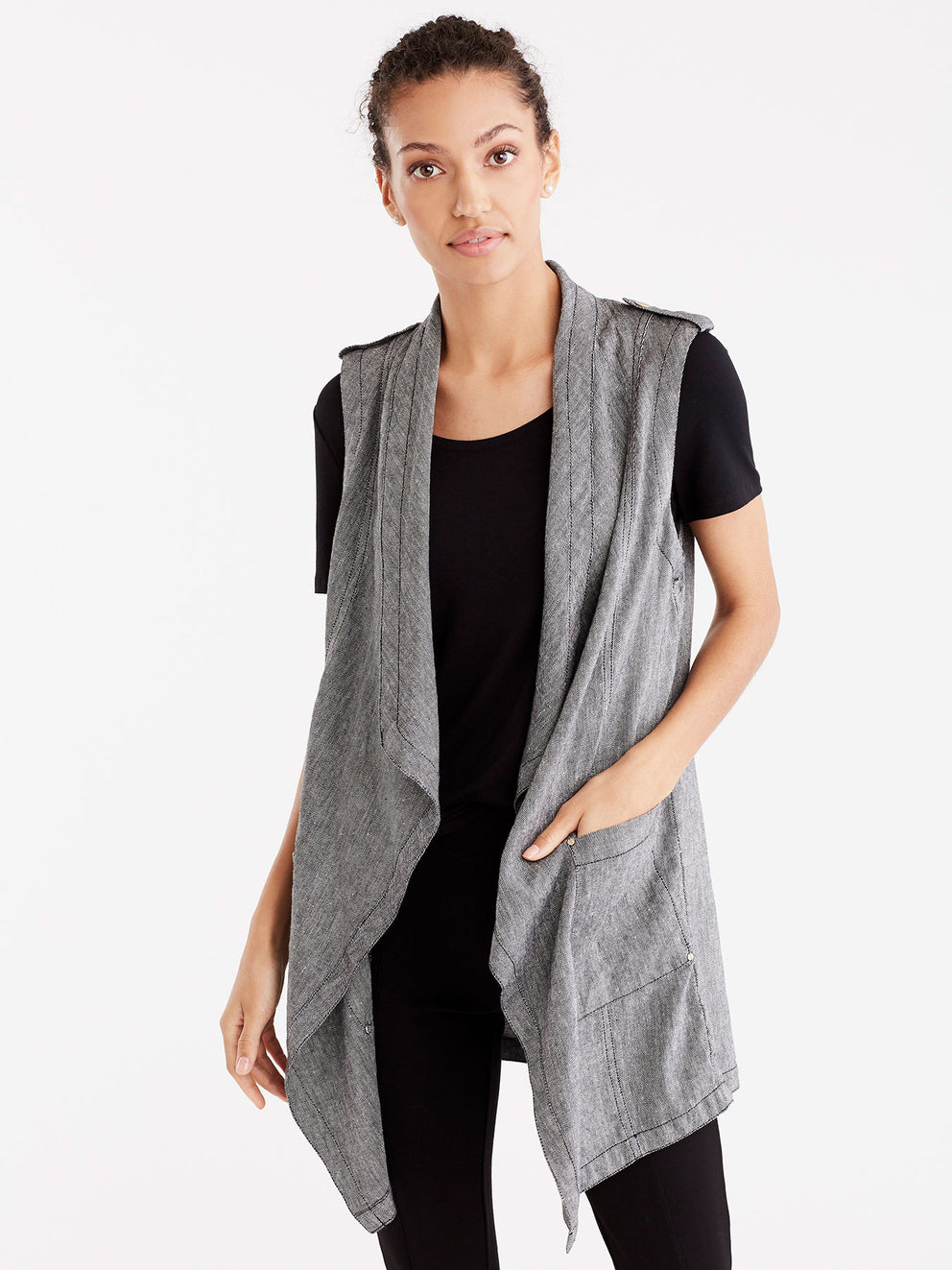 Twill Linen Drape Front Cardigan Color Black
