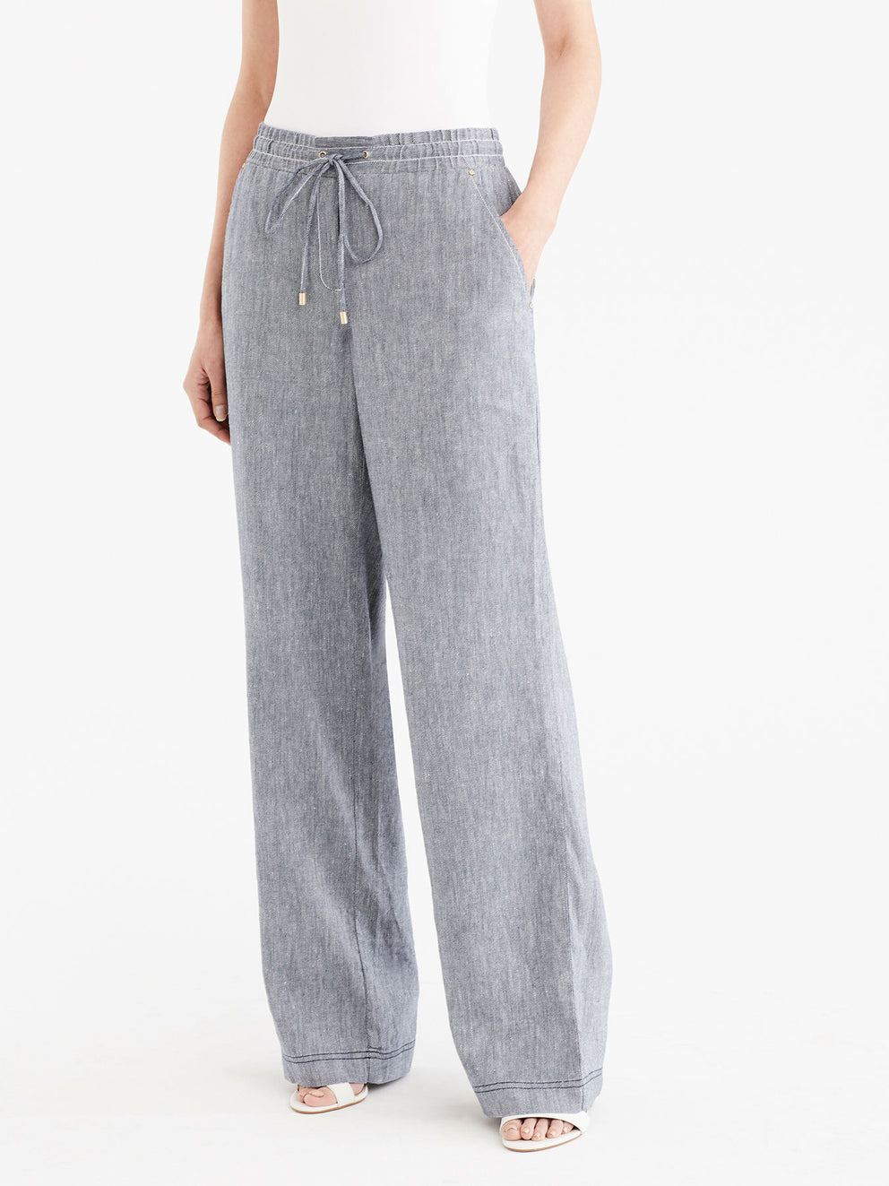Drawstring Wide Leg Pants Color Dark Indigo