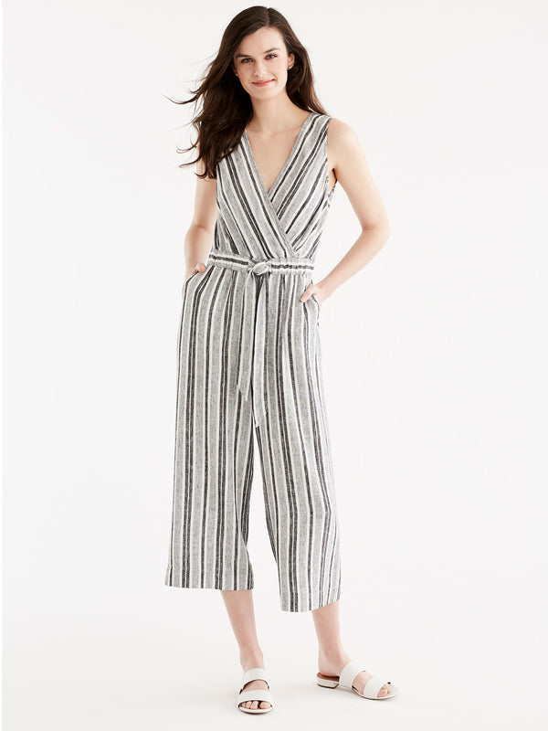 Striped Linen Jumpsuit, Plus Size