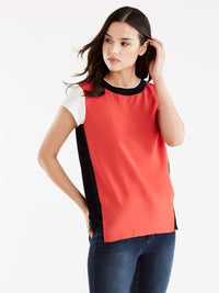 Ribbed Neck Colorblock Tee Color Persimmon