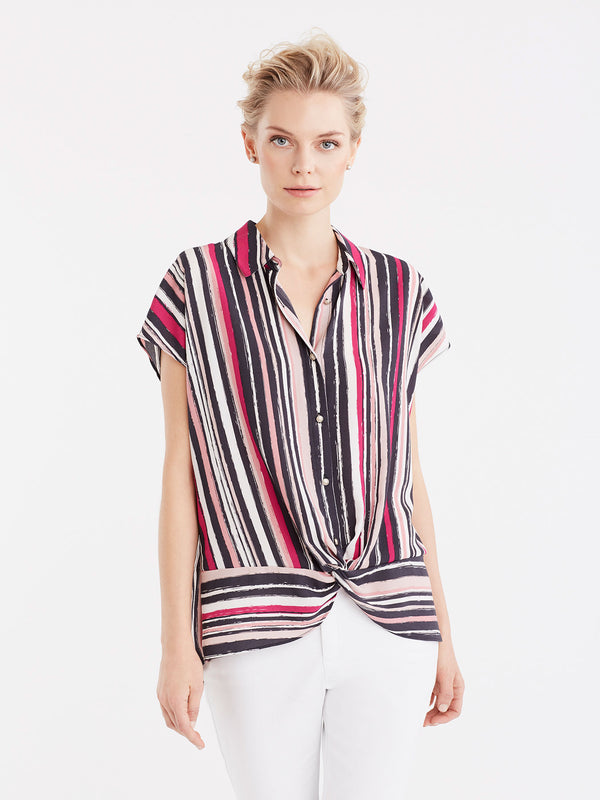 Striped Twist Hem Shirt