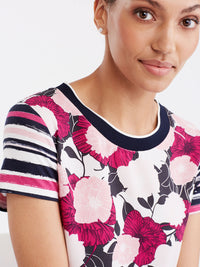 Floral Rib Neck T-Shirt Color Deep Pink Combo