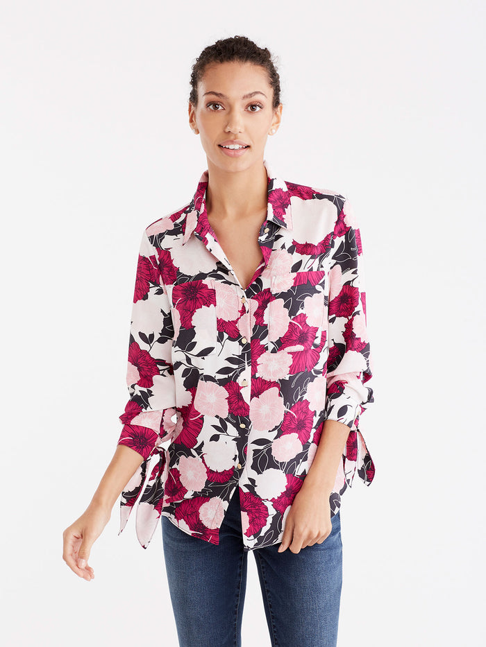 Floral Tie Sleeve Shirt