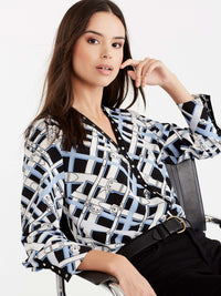 Belt Print Blouse, Plus Size Color Celestial Combo