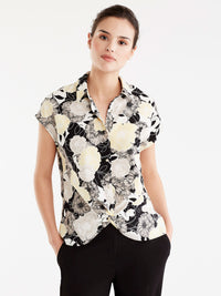 Floral Draped Hem Shirt Color Canary Combo