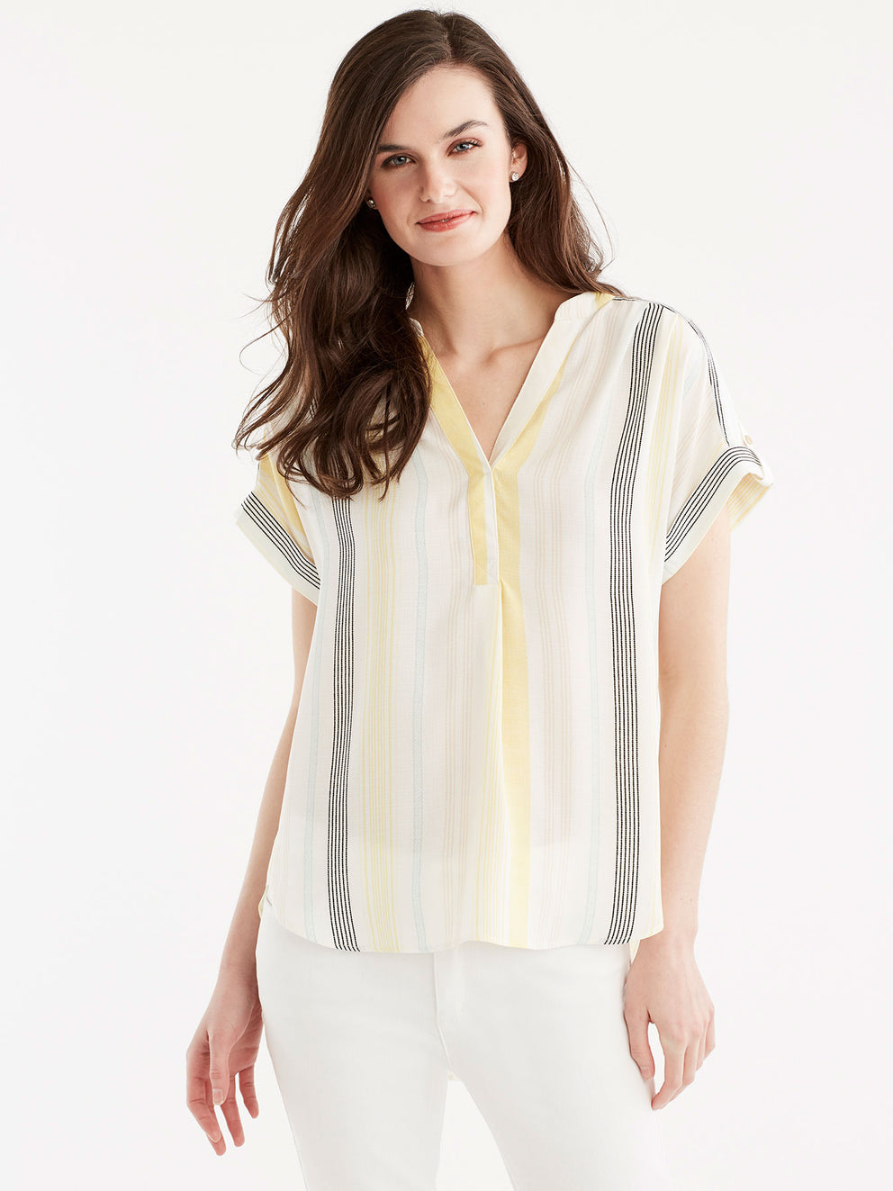 High-Low Roll-Tab Shirt Color Canary