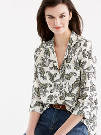 Stand Collar Shirt Color Canary Combo