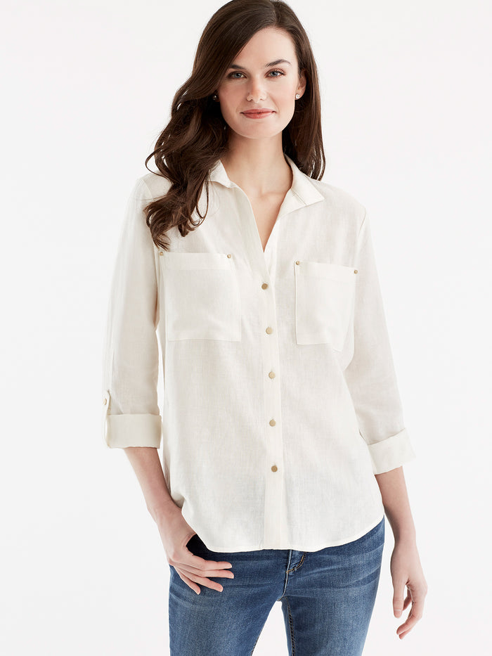 Stand Collar Shirt, Plus Size