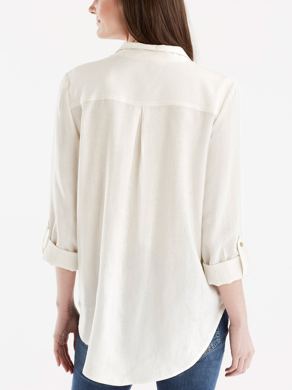 Stand Collar Shirt Color Ivory