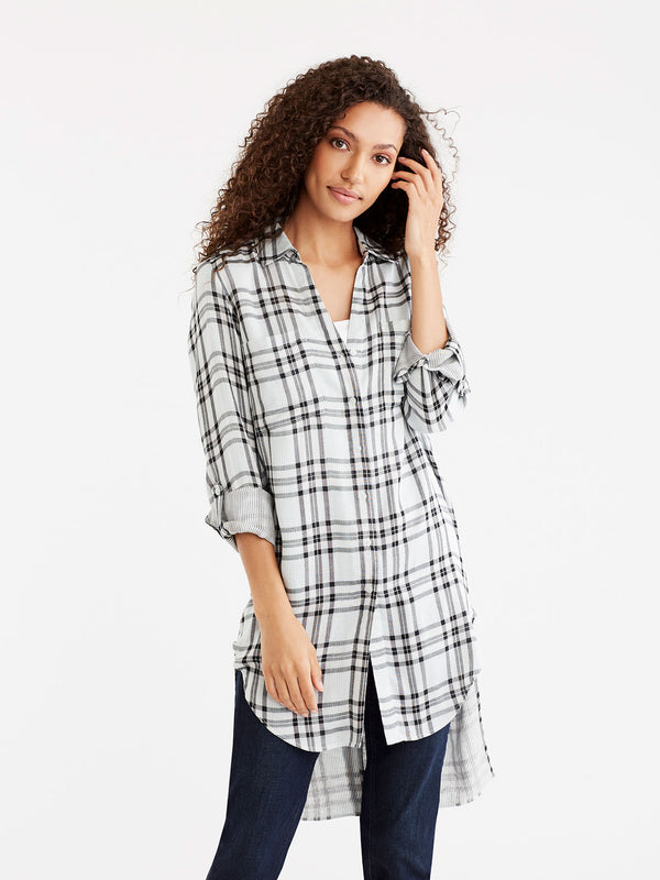 Longline Plaid Tunic, Plus Size