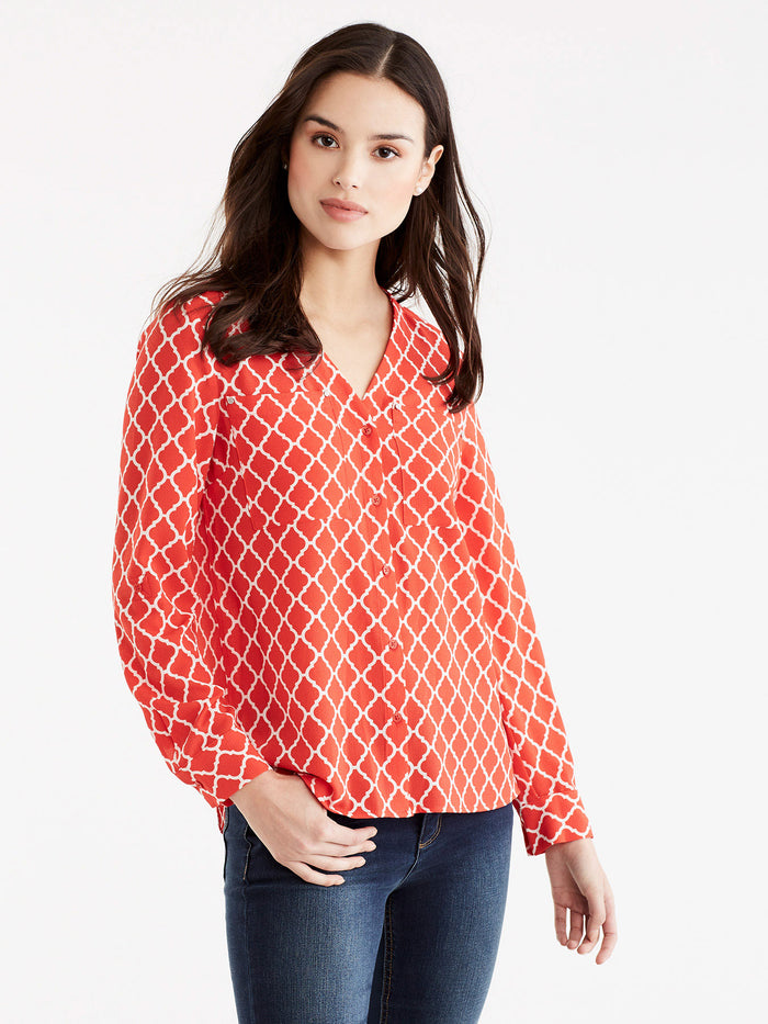 Arabesque Print Shirt, Plus Size