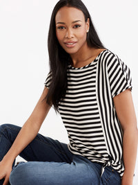 Stripe Tie Front Tee Color Black Stripe