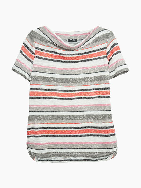 Striped Drape Neck Tee, Plus Size