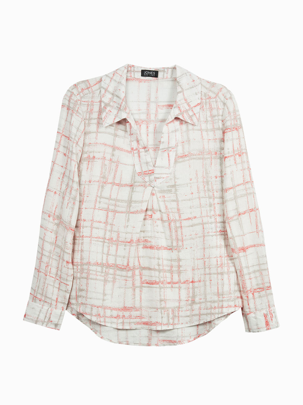 The Jones New York Pleated Popover Top in color Ivory Combo Plaid - Image Position 1