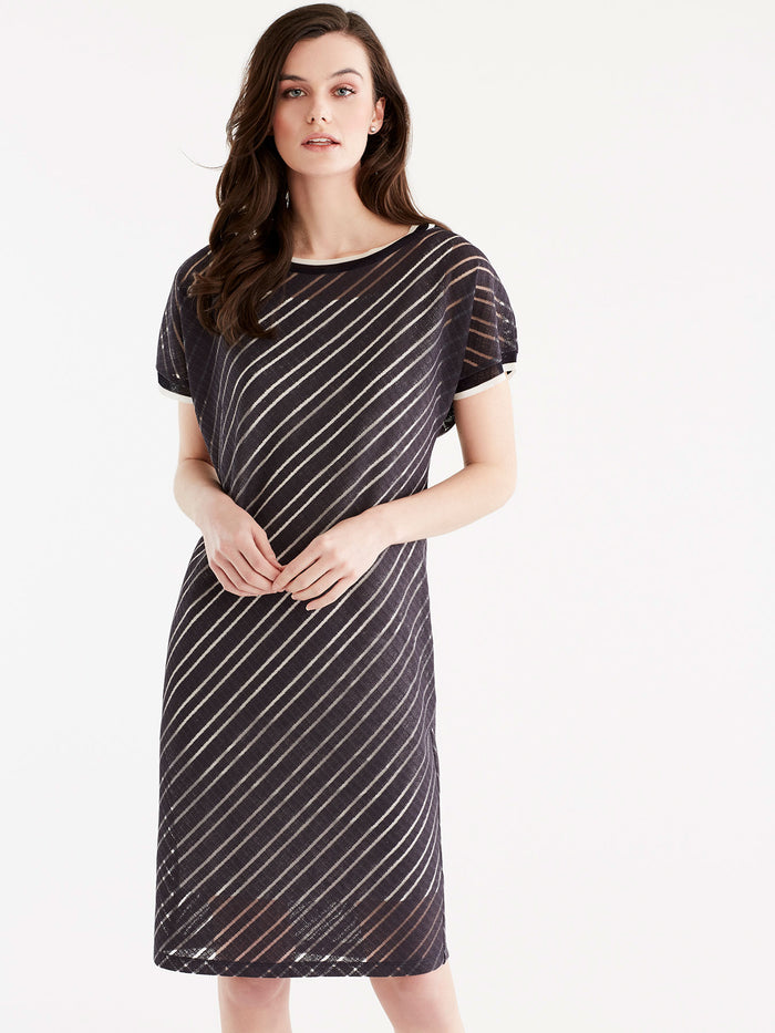 Sheer Stripe T-Shirt Dress, Plus Size