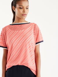 Sheer Stripe Tee Color Soft Coral