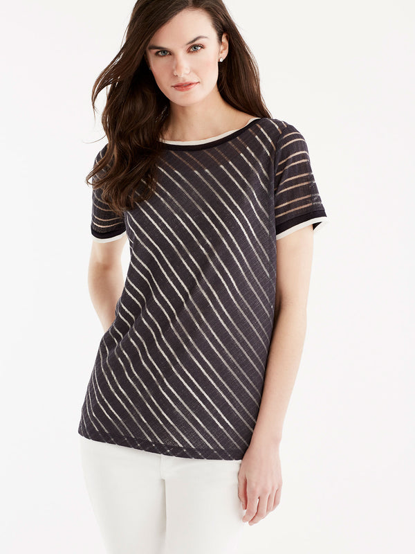 Sheer Stripe Tee, Plus Size