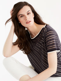 Sheer Stripe Tee, Plus Size Color Ink