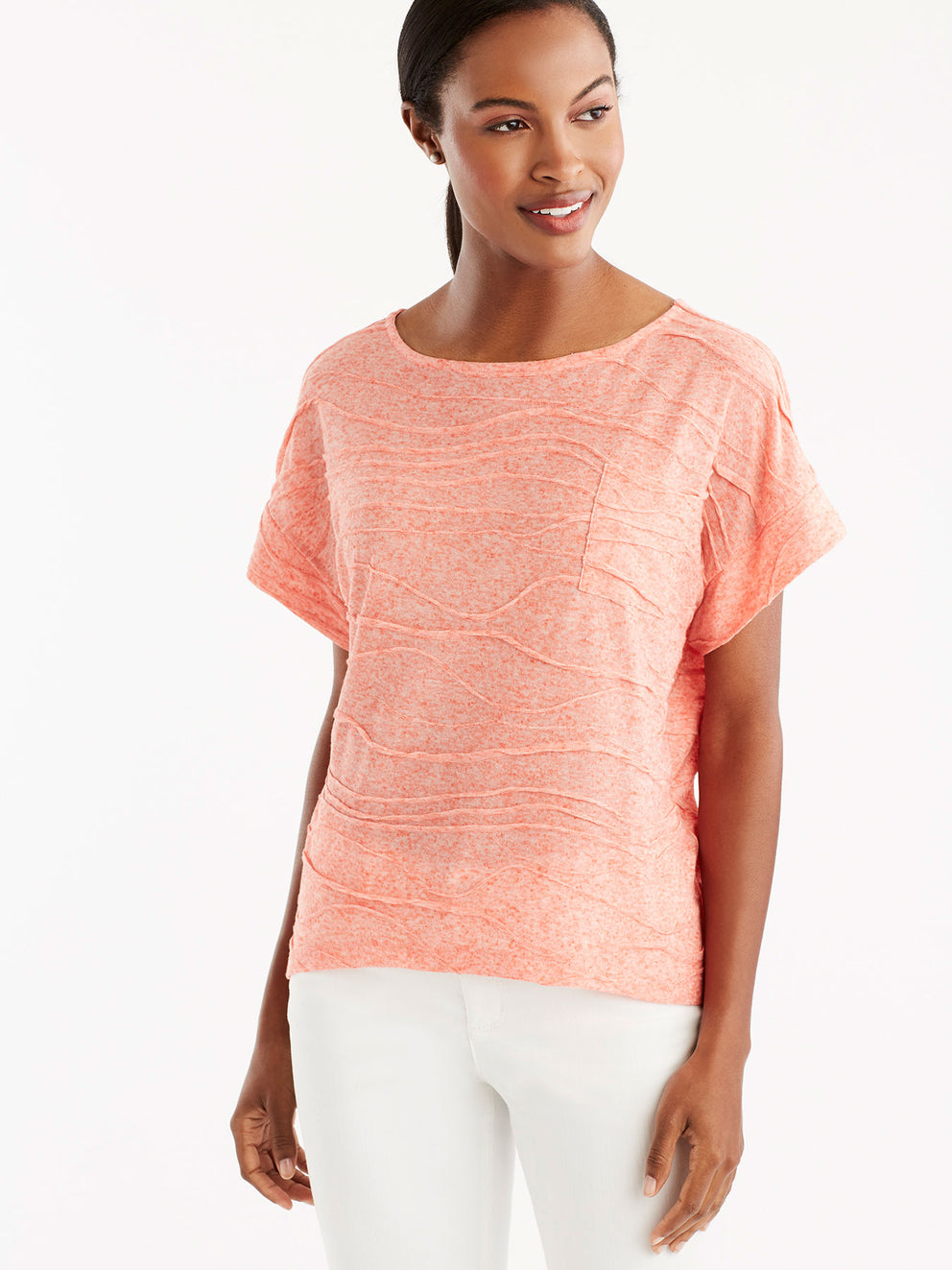 Dolman Sleeve Pocket Tee Color Hot Coral