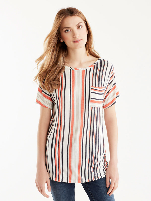 Multi-Striped Pocket Tee, Plus Size