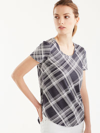 Basic Scoop Neck Tee Color Plaid Ink