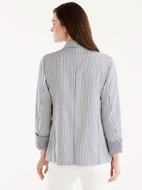 Pinstripe One-Button Blazer Color Ink Ivory Combo