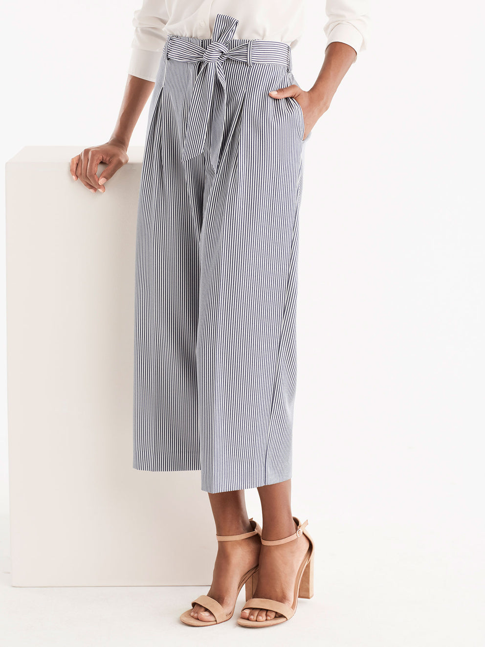 Pinstripe Wide Leg Crop Pants Color Ink Ivory Stripe