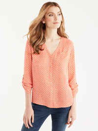 V-Neck Roll Tab Shirt, Plus Size Color Soft Coral Ivory