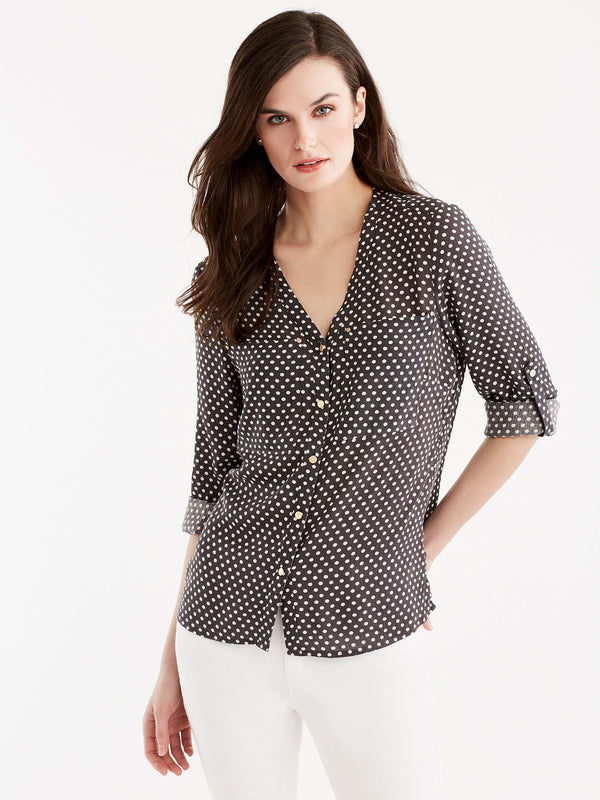 V-Neck Roll Tab Shirt, Plus Size