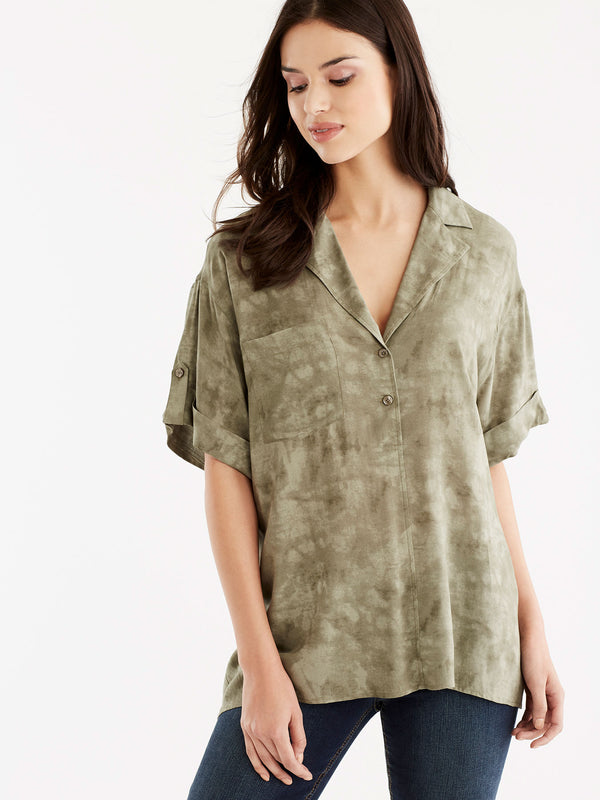 Roll-Tab Wedge Shirt, Plus Size