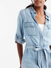 Chambray Shirt Dress Color Glacier