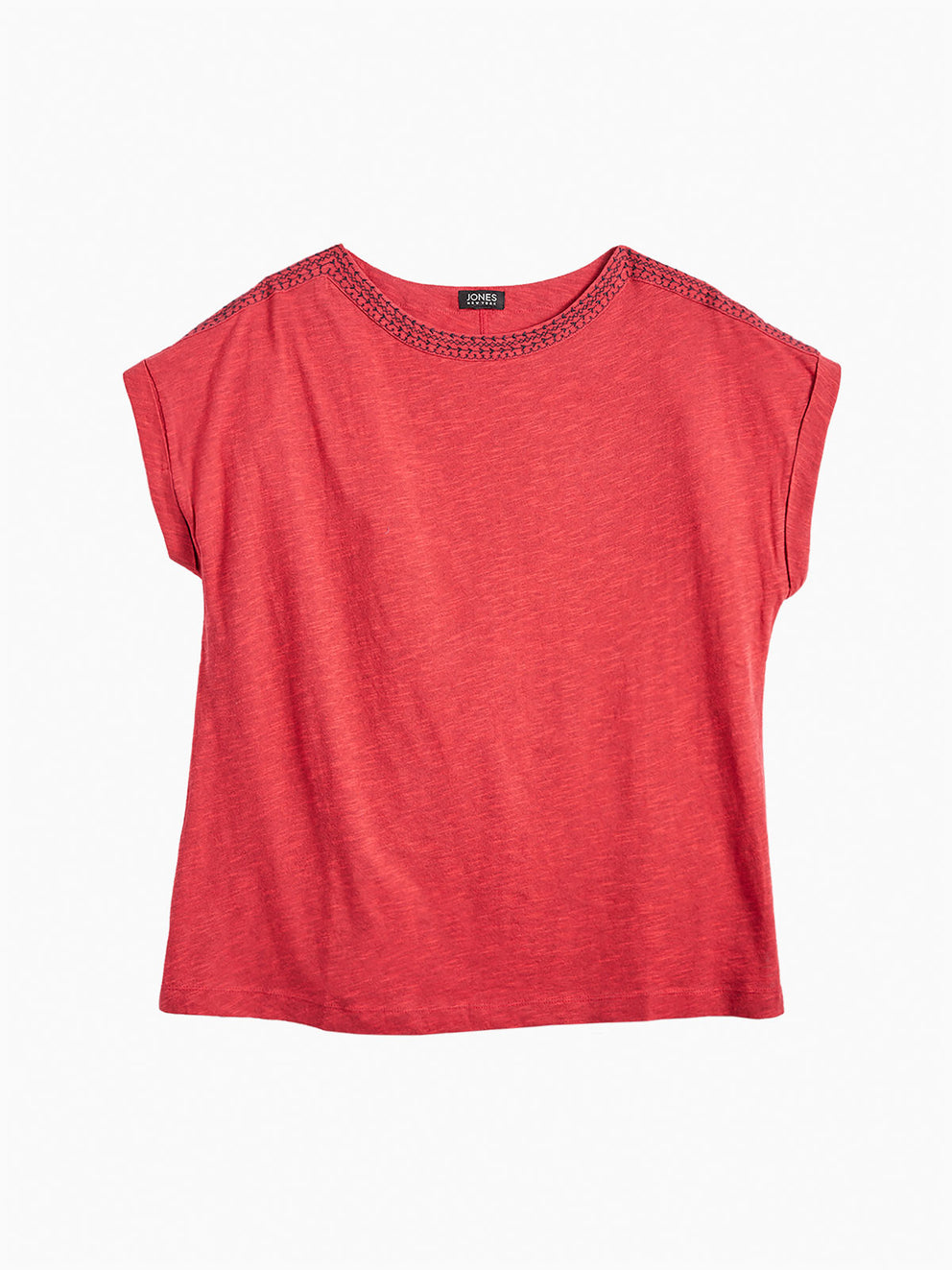 The Jones New York Trim Neck Top, Plus Size in color Poppy Red - Image Position 1