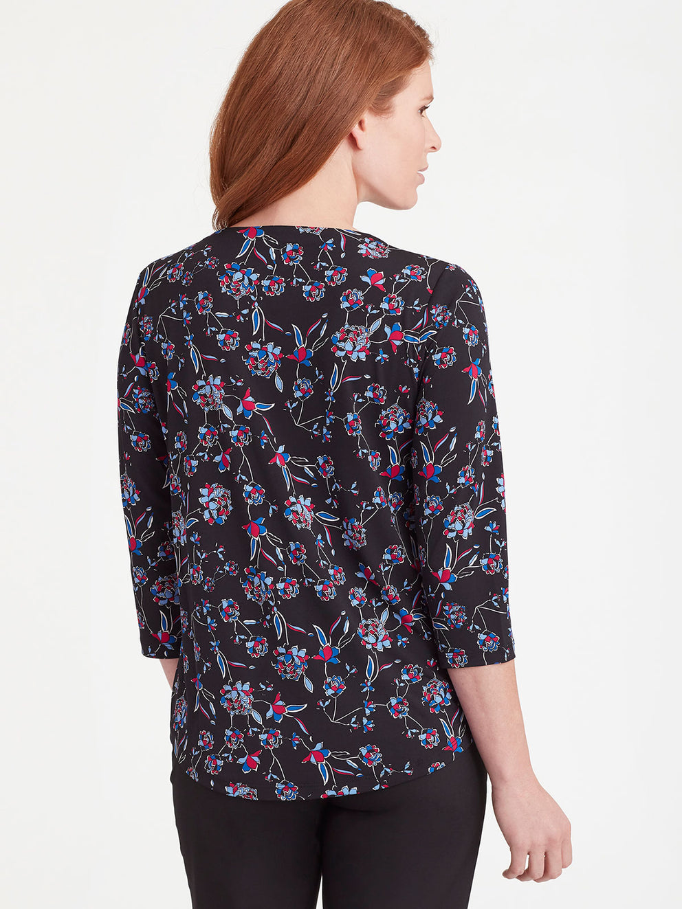The Jones New York Keyhole Neckline Top in color Blue Floral - Image Position 3
