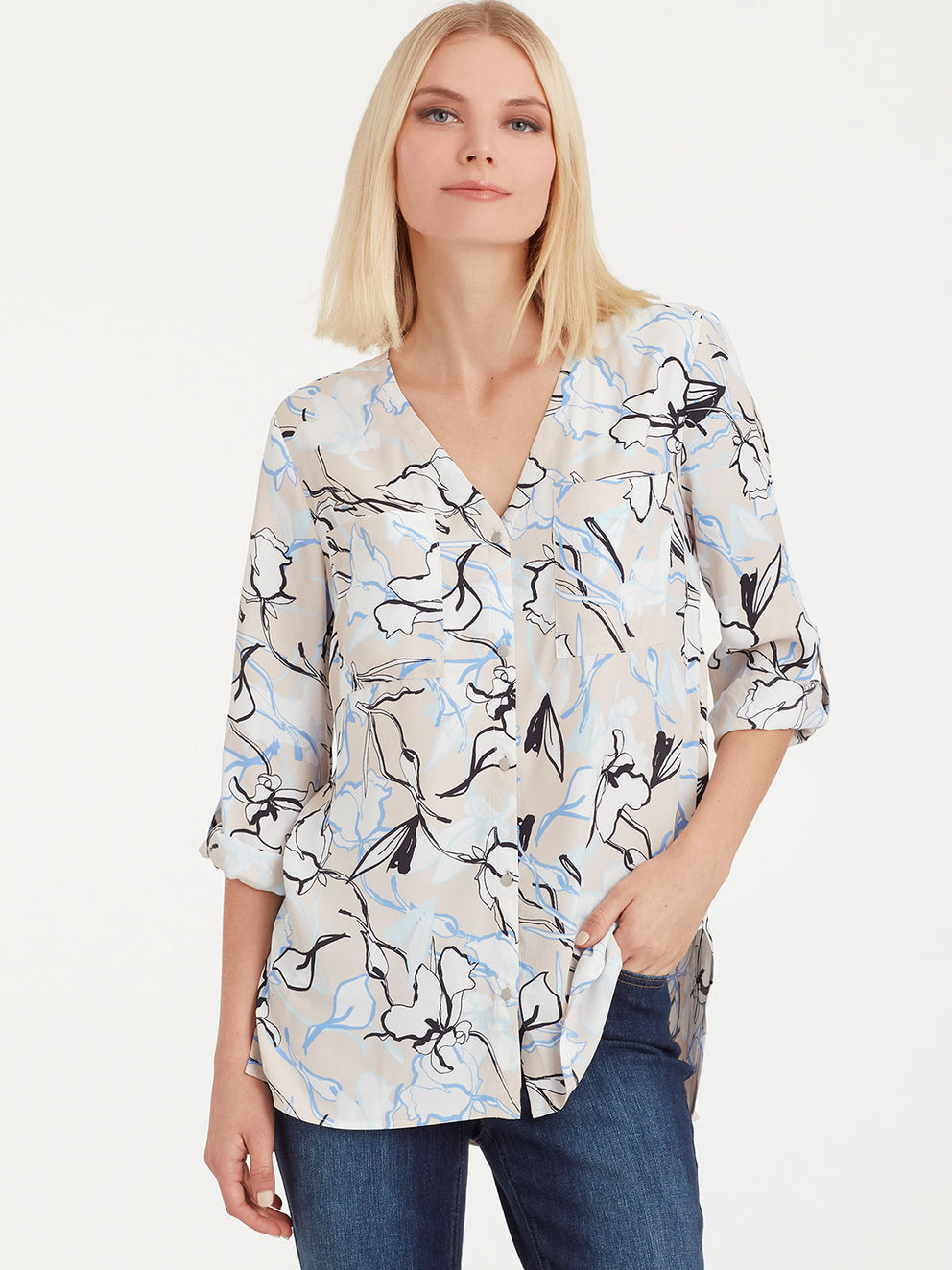 The Jones New York Utility Top in color Pebble Floral - Image Position 1