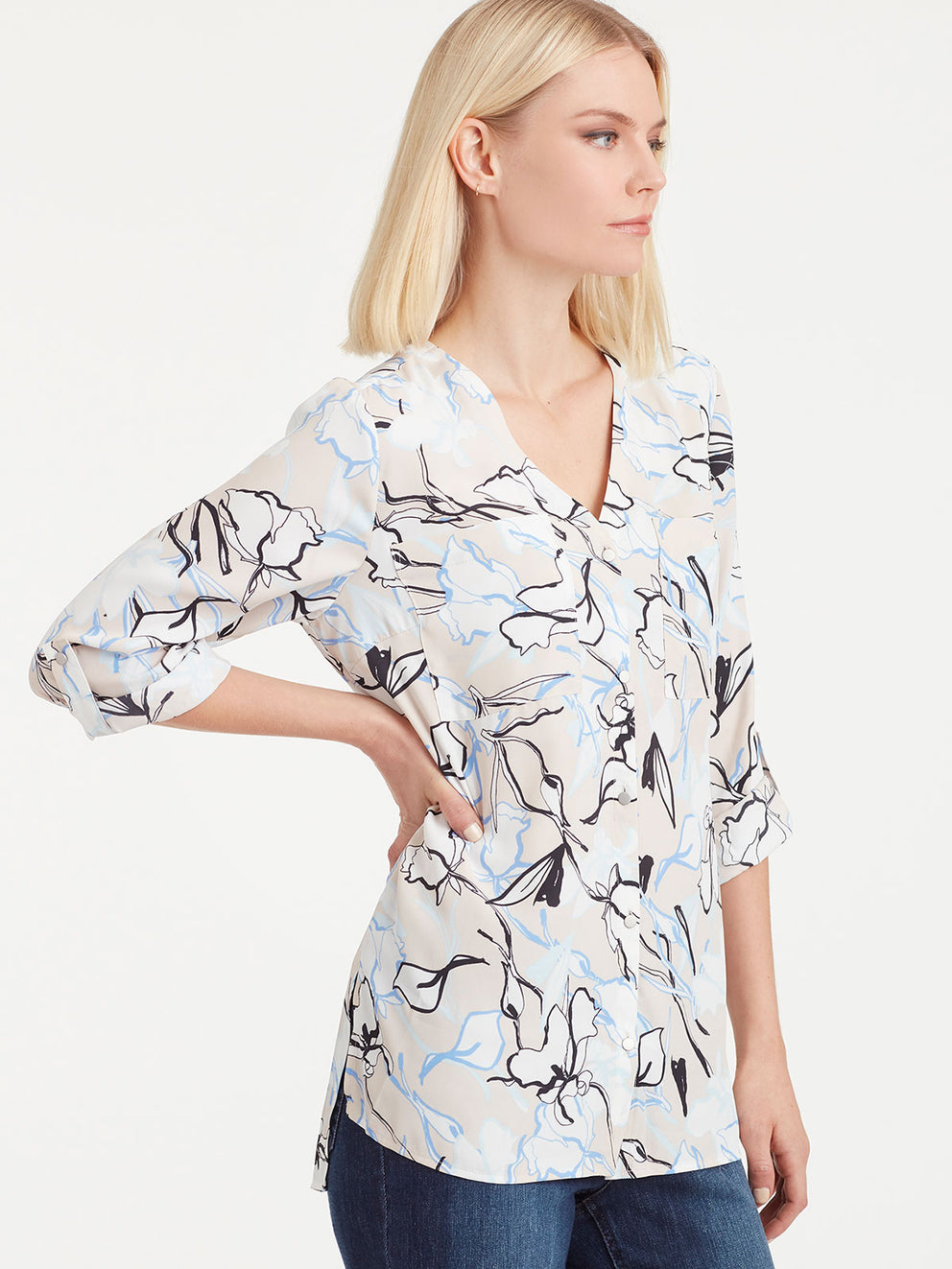 The Jones New York Utility Top in color Pebble Floral - Image Position 2
