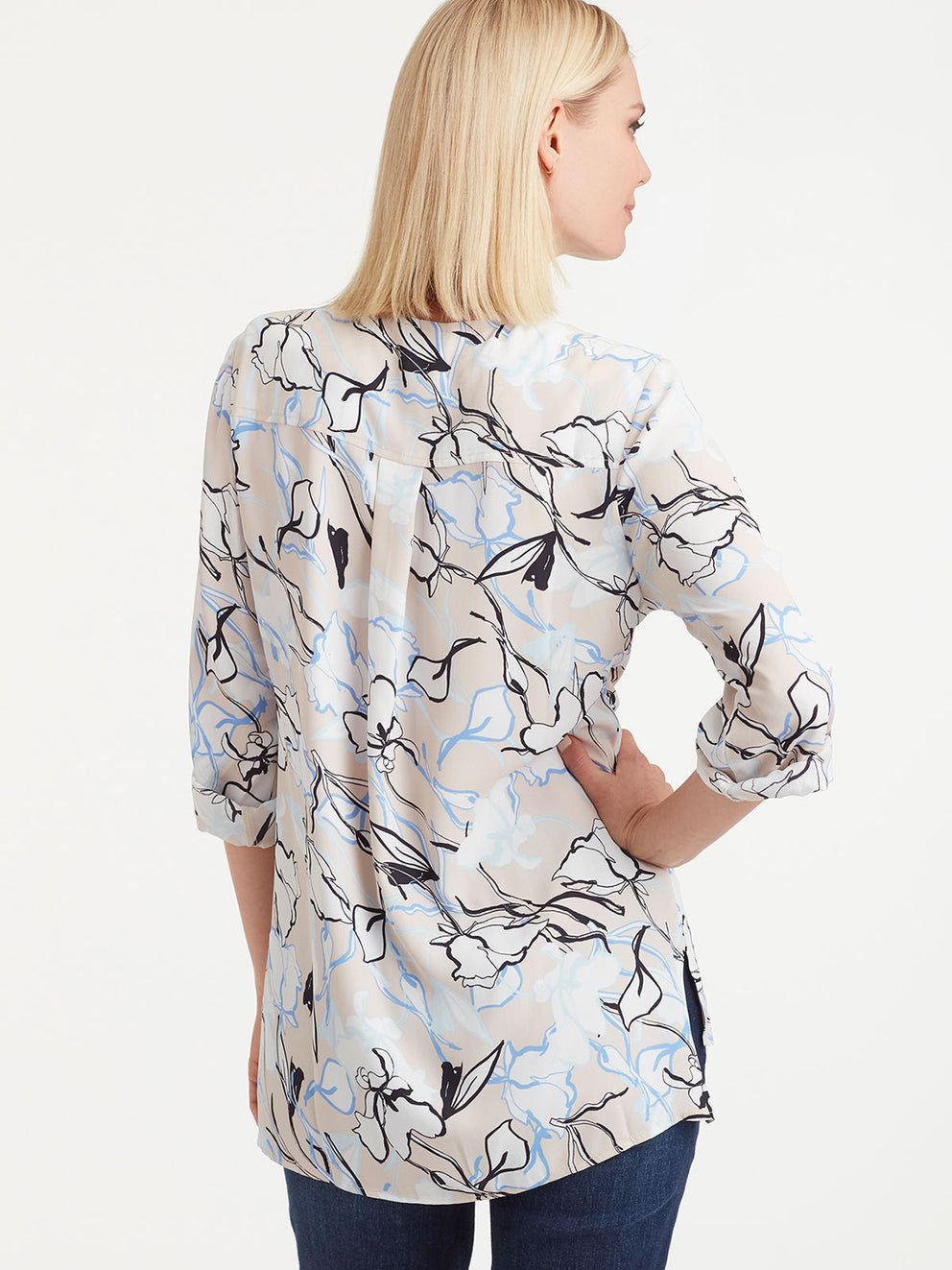 The Jones New York Utility Top in color Pebble Floral - Image Position 3