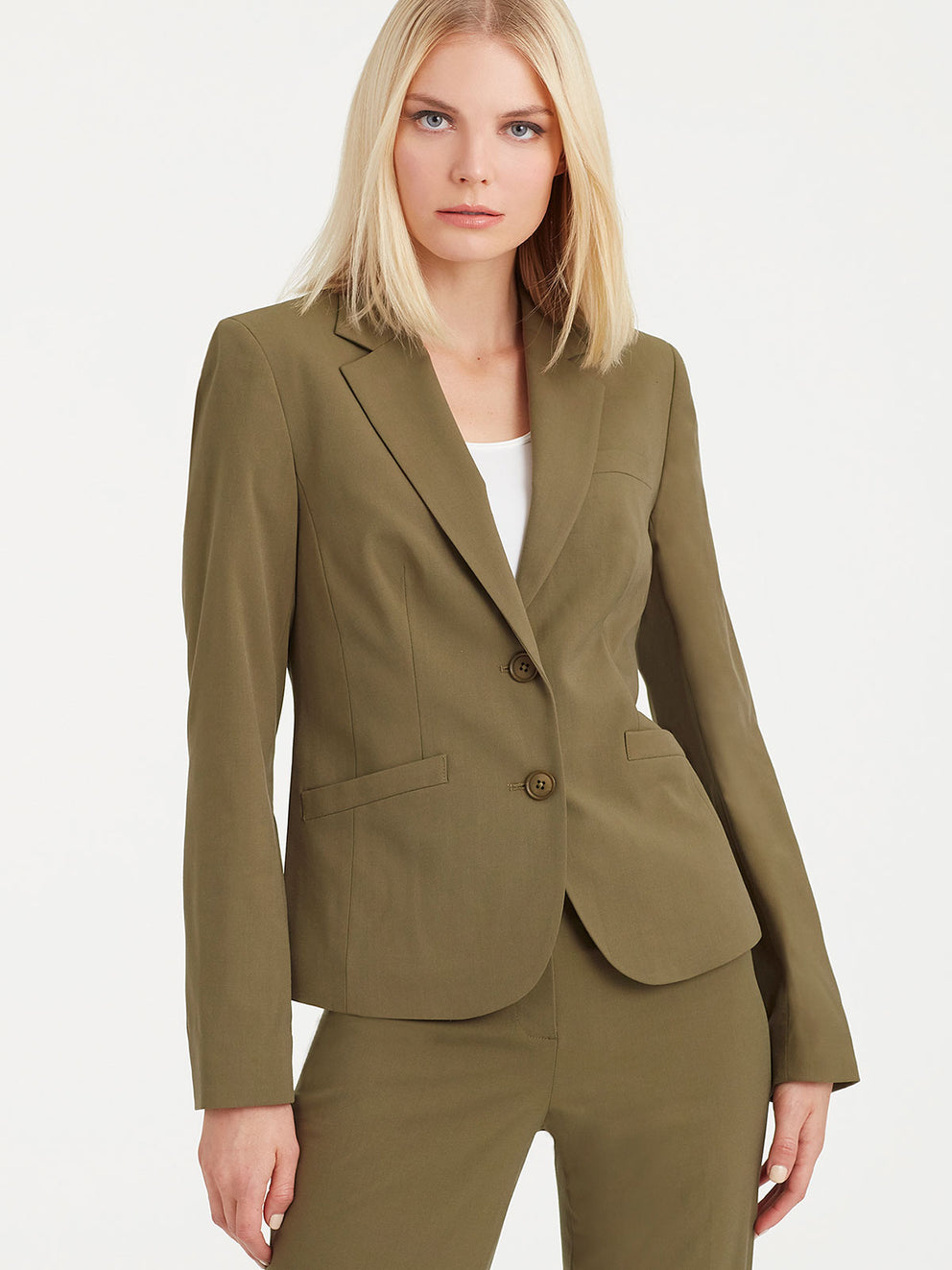 The Jones New York Washable Cropped Two-Button Jacket in color Fatigue Green - Image Position 1