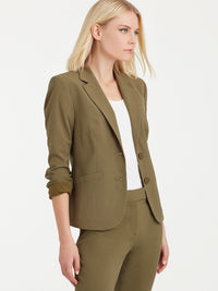 The Jones New York Washable Cropped Two-Button Jacket in color Fatigue Green - Image Position 2