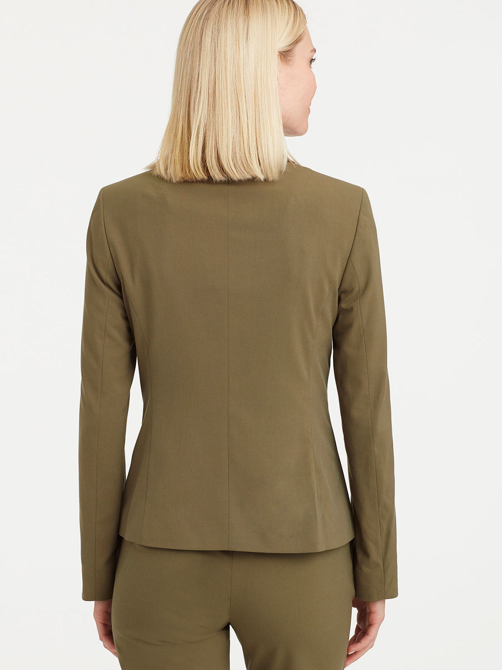 The Jones New York Washable Cropped Two-Button Jacket in color Fatigue Green - Image Position 3