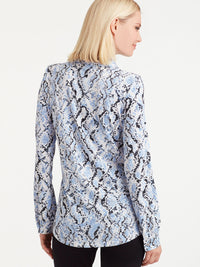 The Jones New York Button-Front Knit Top in color Blue Snake Print - Image Position 3