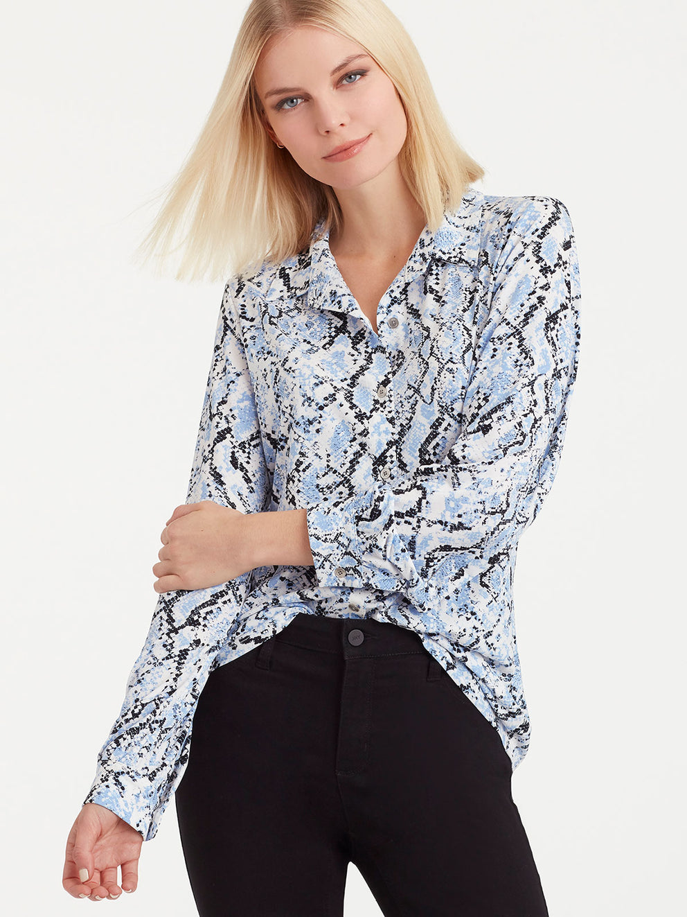The Jones New York Button-Front Knit Top in color Blue Snake Print - Image Position 1