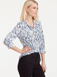 The Jones New York Button-Front Knit Top in color Blue Snake Print - Image Position 2
