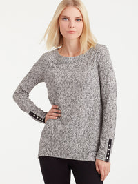 The Jones New York Snap Sleeve Boat Neck Top, Plus Size in color Pebble Glimmer - Image Position 1