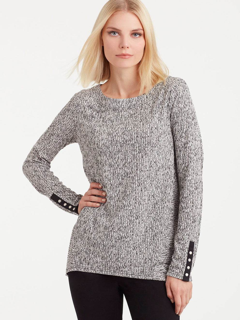 The Jones New York Snap Sleeve Boat Neck Top in color Pebble Glimmer - Image Position 1