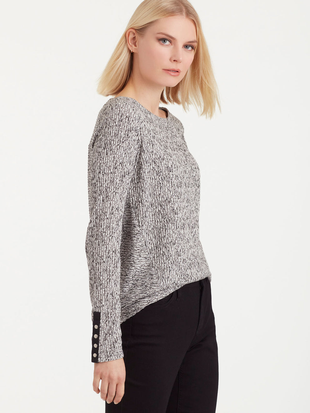 The Jones New York Snap Sleeve Boat Neck Top in color Pebble Glimmer - Image Position 2