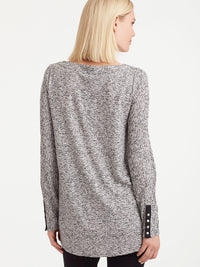 The Jones New York Snap Sleeve Boat Neck Top, Plus Size in color Pebble Glimmer - Image Position 3